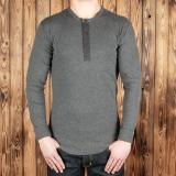 1927 Henley Shirt long sleeve grey melange